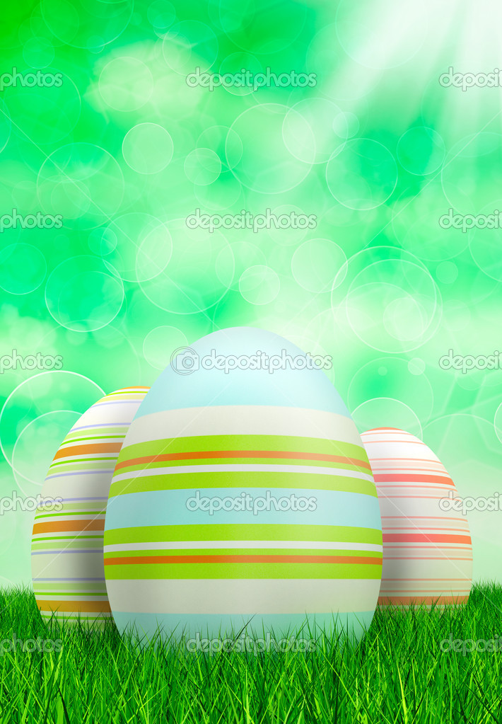 Easter eggs on green bokeh background — Stock Photo #8740119