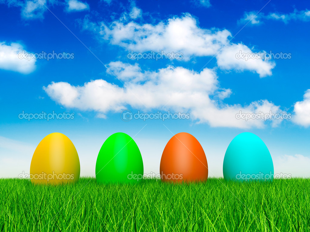 Four easter eggs  Stock Photo #8740192