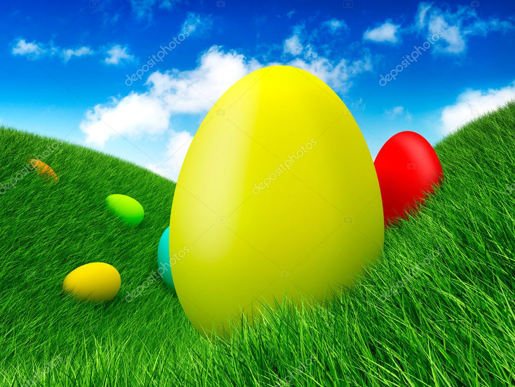Easter - eggs on grass — Stock Photo #8740198