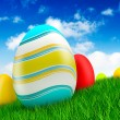Easter eggs on green grass background — Stock Photo