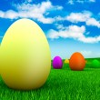 Easter - eggs on grass — Stock Photo