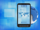 Mobile phone and globe - concept illustration — Stock Photo