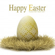 Happy Easter - template design - golden egg on white background — ストック写真