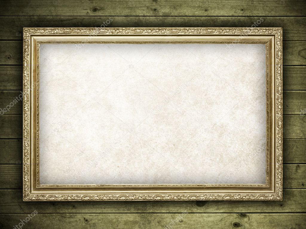 Template design - old frame on wood background — Stock Photo ...