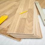 Laminate floor installation — Stock Photo