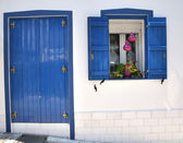Blue door and window — Stock Photo