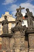 Jesus statue on the Charles bridge, Prague — Stock Photo