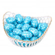 Basket full with chocolate Easter eggs — Stock Photo