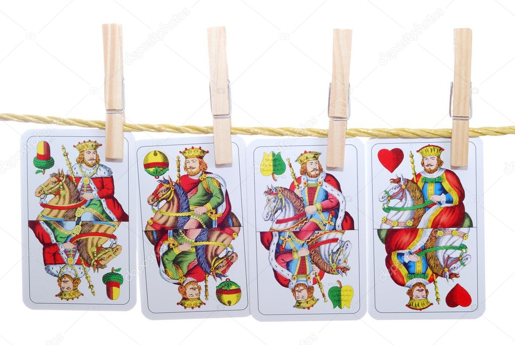 Four king poker card hanging on rope — Stock Photo #8213445