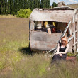 Girl and abandoned Caravan — Stock Photo #8422879