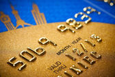 Closer look at credit card — Stockfoto