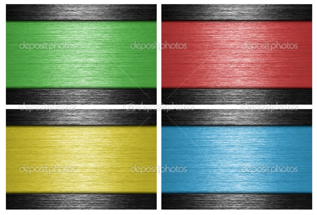 Colored, brushed metal banners. metallic background. — ストック写真 #9083173