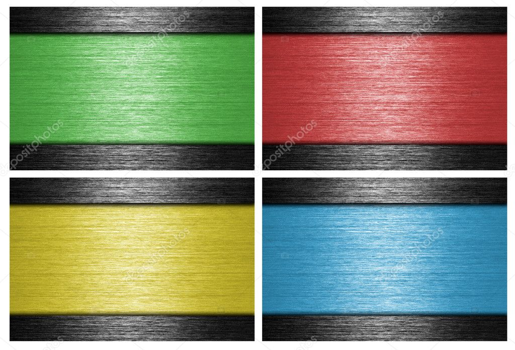 Colored, brushed metal banners. metallic background.  Foto Stock #9083173