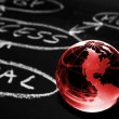 Flowchart on a chalk board. World globe. — Stock Photo