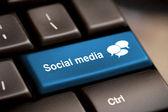 Klawiatura media społeczne — Zdjęcie stockowe