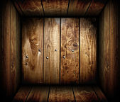 Inside an empty wooden crate. Wood box — Stock Photo