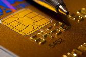 Closer look at credit card — Foto Stock