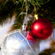 Two balls on the Christmas tree — Stock Photo