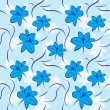Stock Vector: Blue flowers seamless