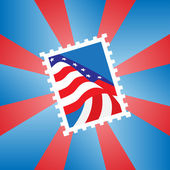 Postage stamp with the American flag — Stock Vector