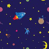 Cartoon space seamless texture — Stock Vector
