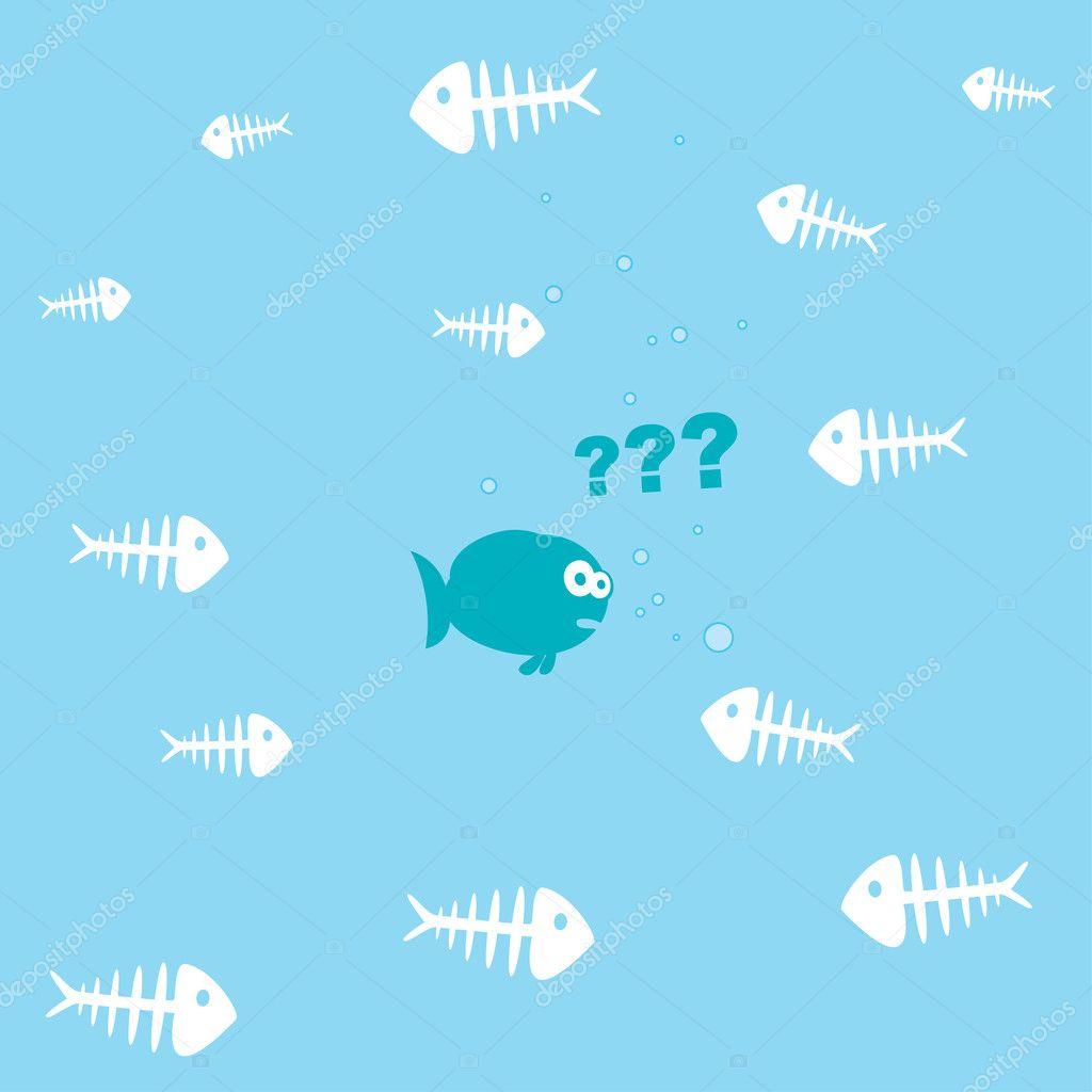 可爱的卡通鱼和大量的鱼骨矢量插图– 图库插图