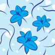 Blue lilies and hearts seamless — Stock Vector