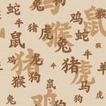 Chinese zodiac seamless — Stock Vector