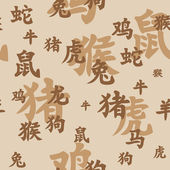 Chinese zodiac seamless — 图库矢量图片