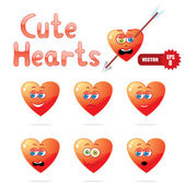 Cute cartoon hearts — Stock Vector