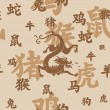Chinese zodiac seamless with dragon — Vector de stock #8722989