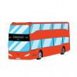 Stock Vector: Red double-decker bus