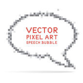 Round speech bubble in pixel art style — Stock Vector