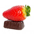 Strawberry and choco candy — Stock Photo