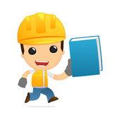 Rolig tecknad builder — Stockvektor