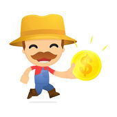 Funny cartoon farmer — Stock Vector