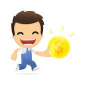 Funny cartoon mechanic — Stock Vector