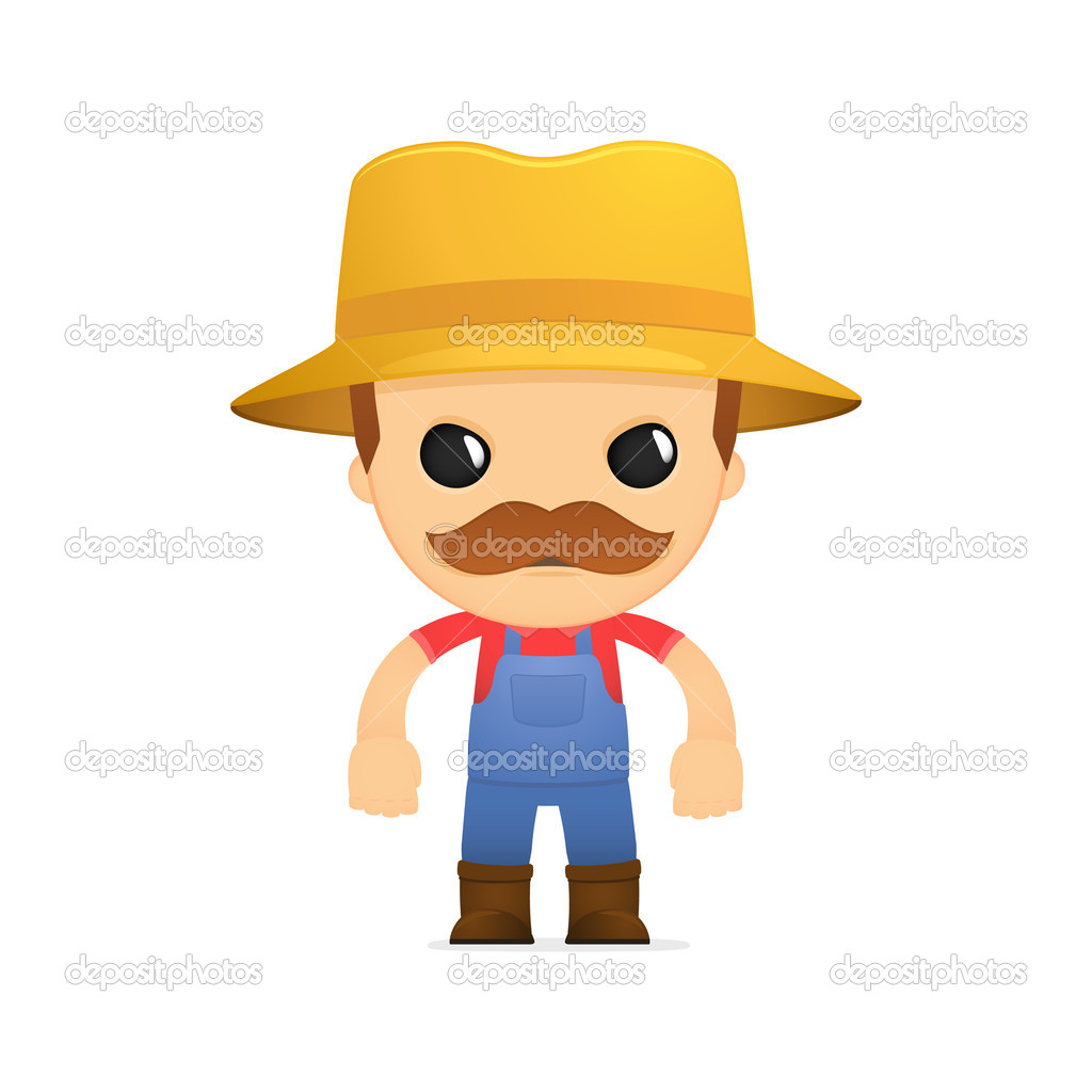 Funny cartoon farmer in various poses for use in advertising, presentations, brochures, blogs, documents and forms, etc. — Stock Vector #10452101