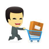Funny cartoon asian businessman — Stock Vector