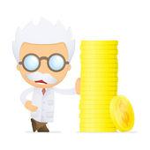 Funny cartoon scientist — Stock Vector