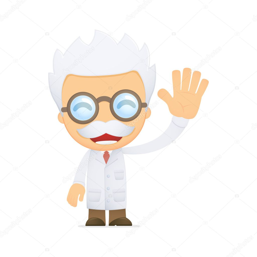 Funny cartoon scientist in various poses for use in advertising, presentations, brochures, blogs, documents and forms, etc. — Stock Vector #10668389