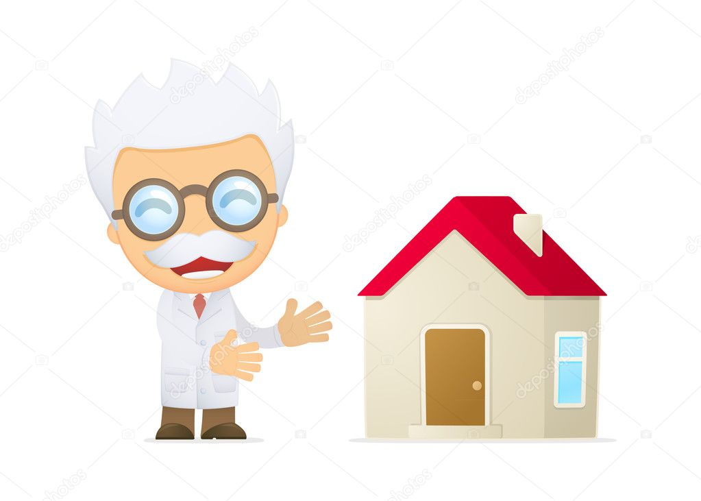 Funny cartoon scientist in various poses for use in advertising, presentations, brochures, blogs, documents and forms, etc. — Stock Vector #10669300