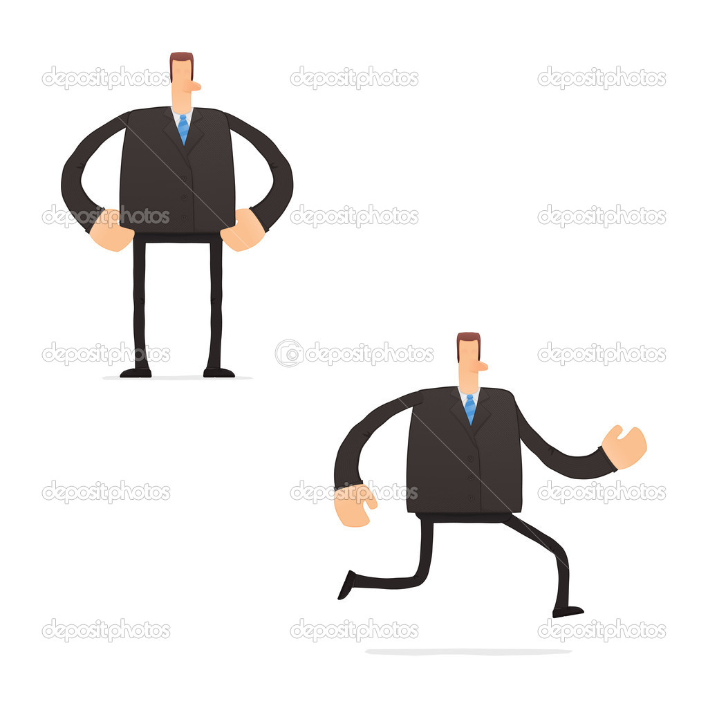 Set of funny cartoon businessman in various poses for use in presentations, etc.  Stock Vector #8032323