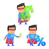 Set of funny cartoon superhero — Vettoriale Stock