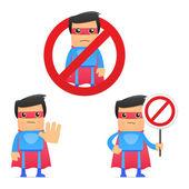 Set of funny cartoon superhero — Stock Vector