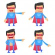 Set of funny cartoon superhero — Vettoriali Stock