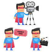 Set of funny cartoon superhero — Stock Vector