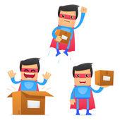 Zestaw zabawne kreskówki superbohatera — Wektor stockowy