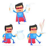 Uppsättning av rolig tecknad superhjälte — Stockvektor