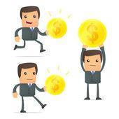 Set of funny cartoon businessman — Stock Vector